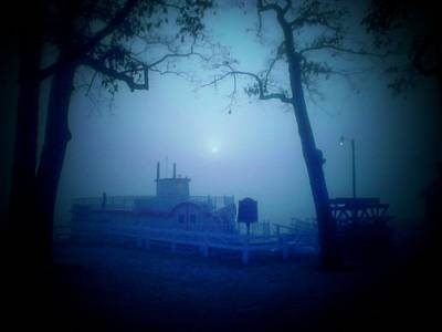 Indiana Landscapes Photograph - Dixie Boat Fog By Cell Phone by Michael L Kimble