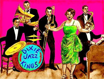 Trombone Drawing - Dixie Jazz Kings Pink by Mel Thompson