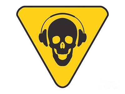 Dj Skull On Hazard Triangle Art Print by Pixel Chimp
