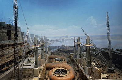 Dnieper Wall Art - Photograph - Dnieper Hydroelectric Plant Construction by Ria Novosti