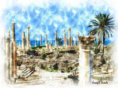 Do-00550 Ruins And Columns Art Print by Digital Oil