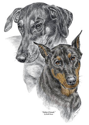 Pinscher Drawing - Dober-friends - Doberman Pinscher Portrait Color Tinted by Kelli Swan