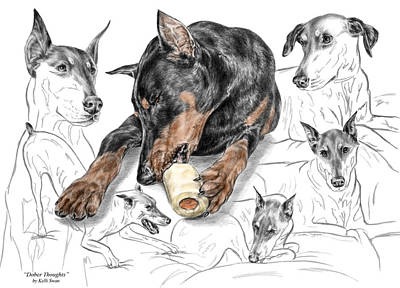 Pinscher Drawing - Dober-thoughts - Doberman Pinscher Montage Print Color Tinted by Kelli Swan