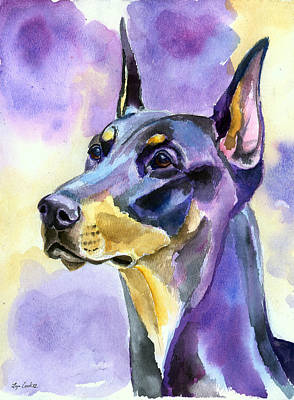 Doberman Painting - Dobie Mood Indigo by Lyn Cook