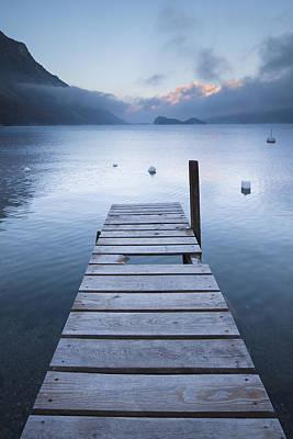 Dock And Buoys, Lake Sils, Engadin, Switzerland Art Print