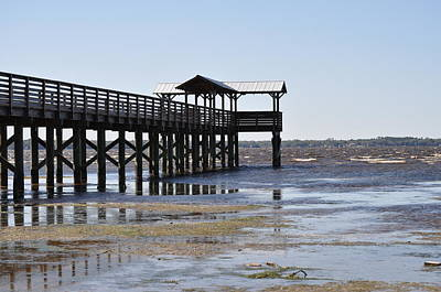 Dock At Low Tide Art Print by Tiffney Heaning
