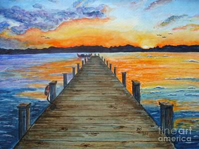Blue Bouys Painting - Dock Of The Bay by Bonnie Schallermeir