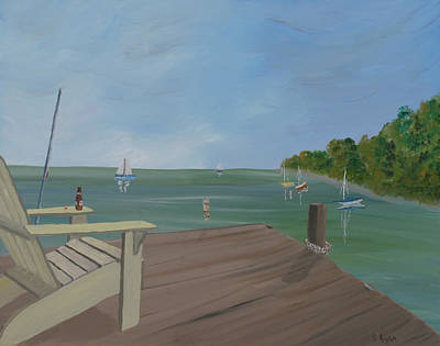 Empty Chairs Painting - Dock Of The Bay by Scott Kugler