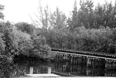 Photograph - Dock On The River In Black And White by Rob Hans