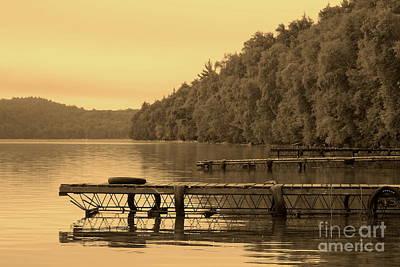 Docks In Sepia Wakomata Lake Art Print by Marjorie Imbeau