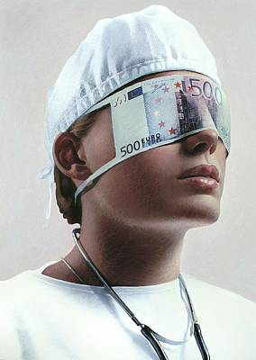 Doctor Blinded By Money, Conceptual Image Art Print by Smetek