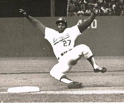 Dodger Willie Crawford Sliding Into Third Art Print