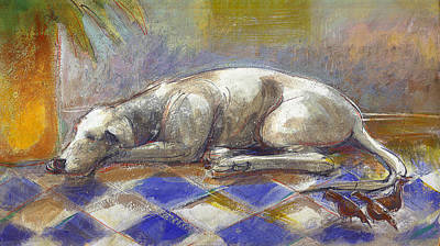 Nap Painting - Dog And Birds by Nato  Gomes