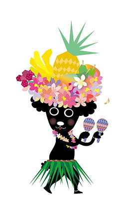 Cute Dogs Digital Art - Dog Dancing And Wearing Tropical Costume by Meg Takamura