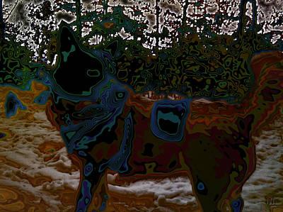 dog in snow - not by Hundertwasser II Art Print