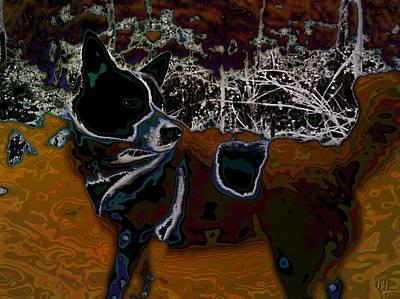 Alienation Digital Art - Dog In Snow - Not By Hundertwasser I by Nafets Nuarb