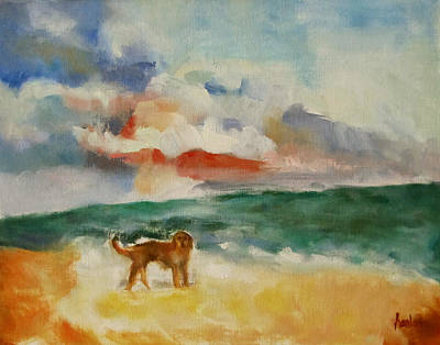 Painting - Dog On The Beach by Susan Hanlon