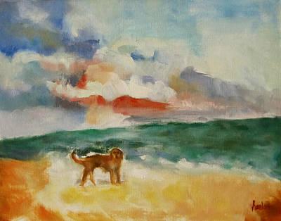 Dog On The Beach Art Print by Susan Hanlon