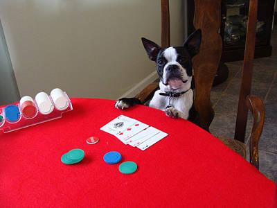 Dog Playing Poker Art Print by Spike Burrows