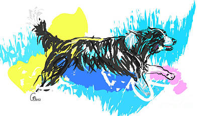 Dog Running In Water Art Print