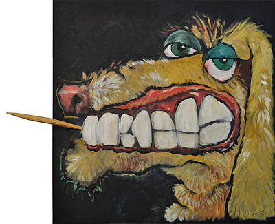 Dog With Toothpick Art Print by Tim Nyberg
