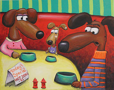 Dachshund Puppy Painting - Doggie Diner by Jennifer Alvarez