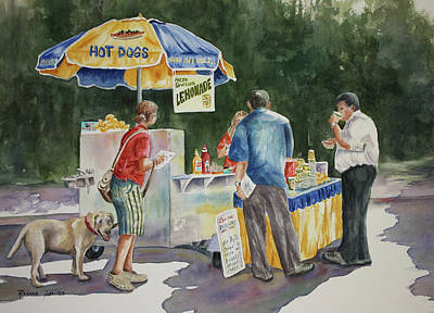 Snack Bar Painting - Dogs In The Park by Roxanne Tobaison