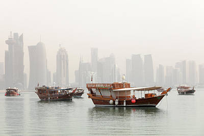 Dhow Photograph - Doha In The Mist by Paul Cowan
