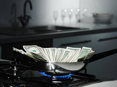 On Paper Photograph - Dollar Bills In Frying Pan On Stove by Walter Zerla