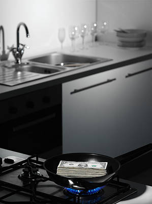 Dollar Bills On Cutting Board In Kitchen Art Print by Walter Zerla