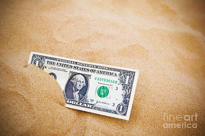 Dollar In The Sand Horizontal. Art Print by Richard Thomas