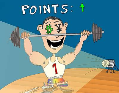 Financial Mixed Media - Dollar Yen Points Up Cartoon by OptionsClick BlogArt
