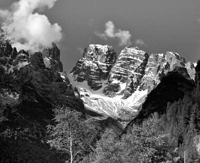 Photograph - Dolomites In Black And White by Ellen Heaverlo