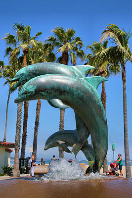 Dolphin Fountain Art Print by Steven Ainsworth