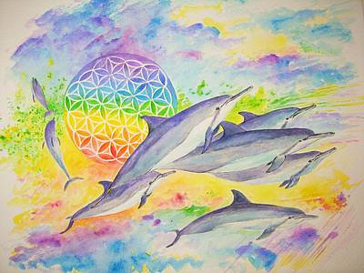 Dolphins-color Art Print by Tamara Tavernier