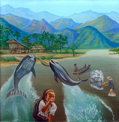 Dolphins Saying Goodbye Original