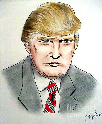 Drawing - Donald Trump Hair Drawing by Jim Fitzpatrick