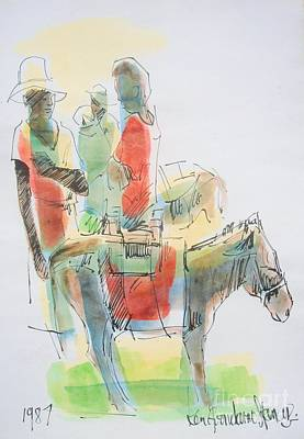 Haiti Painting - Donkey Lady by Carey Chen