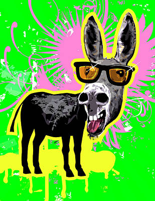 Donkey Wearing Sunglasses, Laughing Art Print by New Vision Technologies Inc