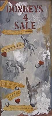 Jackass Painting - Donkeys 4 Sale by Dina Dargo