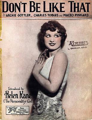 Old Sheet Music Photograph - Don't Be Like That by Mel Thompson