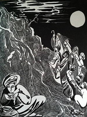 Bible Madman Black White Moon Drawing - Don't Drink The Water by Jackie Rock
