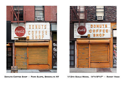 New York In Miniature Sculpture - Donuts Coffee Shop - Randy Hage by Randy Hage