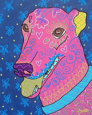 Doodle Greyhound Art Print