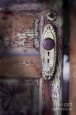 Door Knob And Peeling Paint Art Print by Jill Battaglia