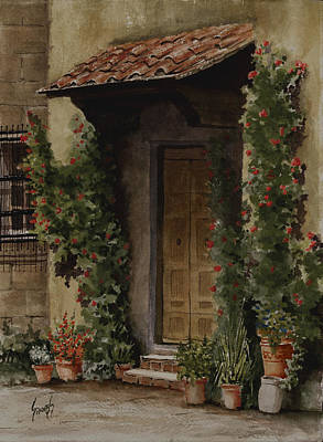 Pottery Painting - Door With Roses by Sam Sidders