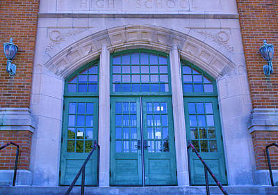 Entrance Door Photograph - Doors To Old High School  by Steven Ainsworth