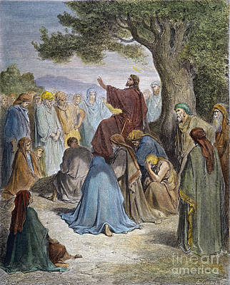 Drawing - Jesus Preaching by Gustave Dore