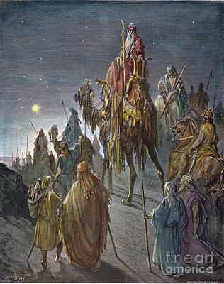 Drawing - Journey Of The Magi by Gustave Dore