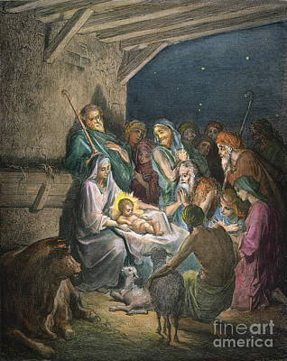 Drawing - The Nativity by Gustave Dore